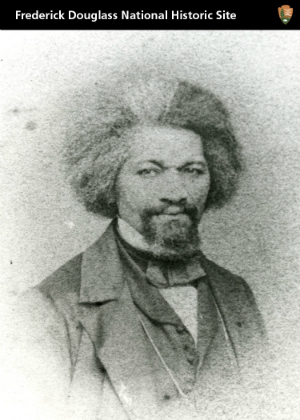 A card with a historic photograph of Frederick Douglass on it