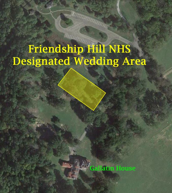 Overhead image showing designated location for weddings at Friendship Hill NHS