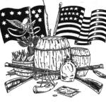 Line drawing with items from Whiskey Rebellion