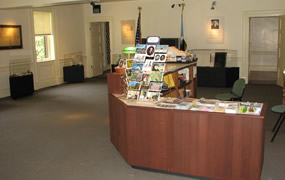 The Gallatin House visitor center desk.