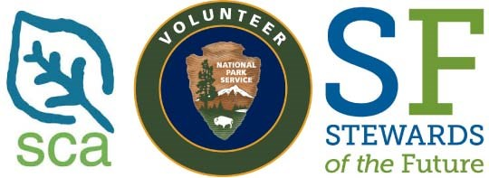 Logos for Student Conservation Association, NPS Volunteers-In-Parks, and Stewards of the Future