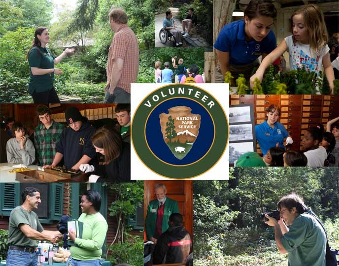 A collage of pictures showing volunteers in various capacities throughout Olmsted NHS.