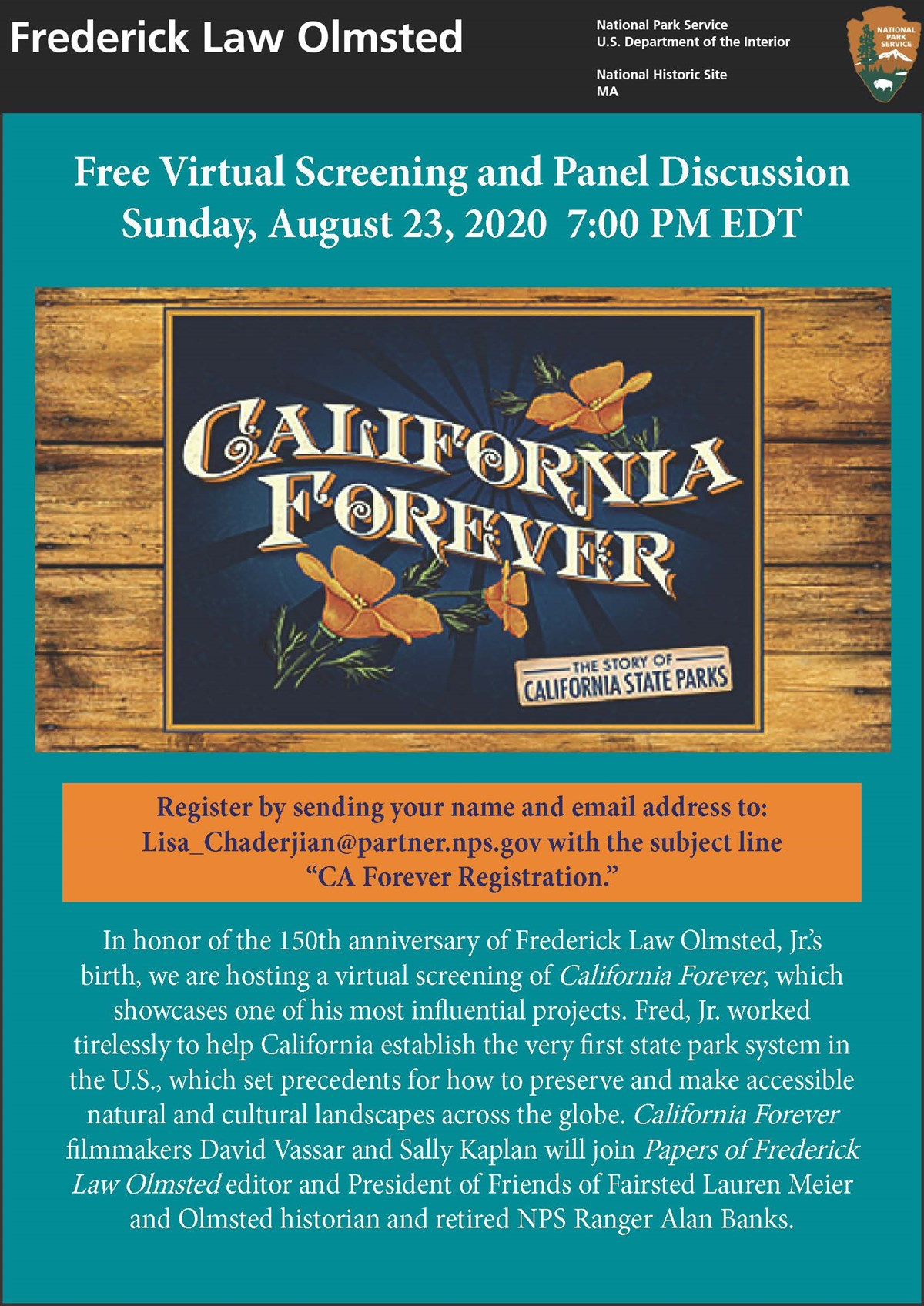Advertisement for California Forever virtual event
