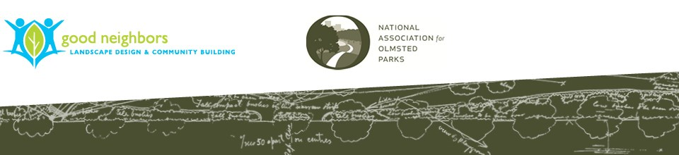 Logos for Good Neighbors and National Association for Olmsted Parks