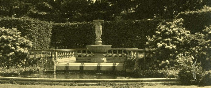 Fountain of the Muses in a garden setting