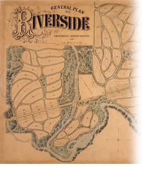 An 1869 plan of Riverside, a suburb of Chicago. See caption.