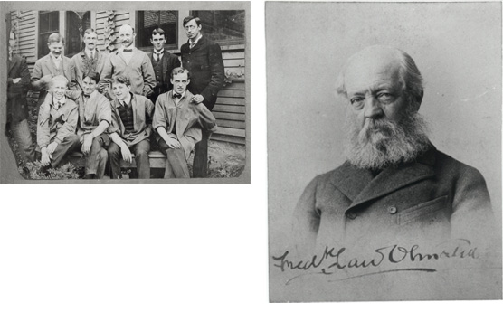 A 1903 photo of the Olmsted Bothers landscape design firm and an image of Olmsted on a carte-de-visite. See caption above.