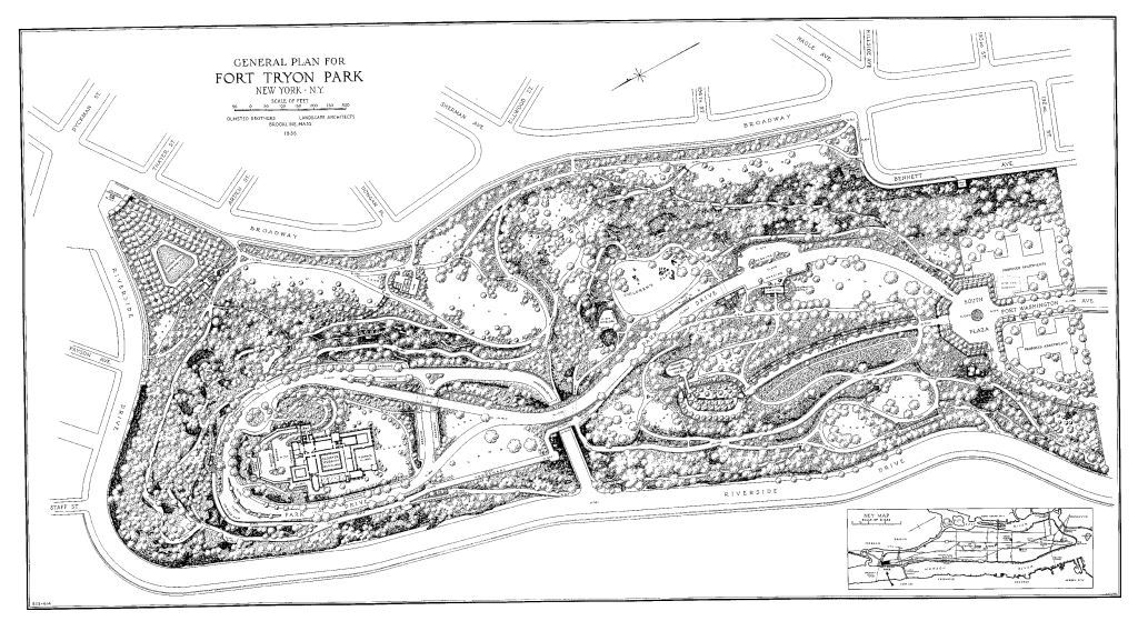 Fort Tryon Park General Plan Frederick Law Olmsted