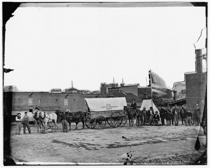 United States Sanitary Commission wagon and workers