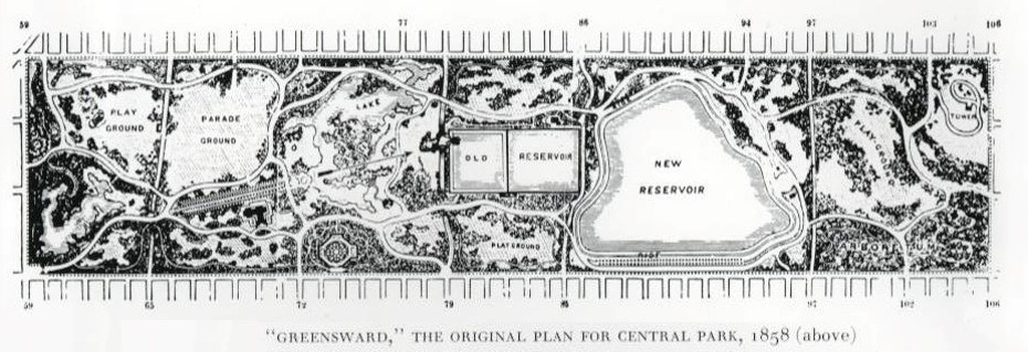 Black and white Greensward Plan drawing