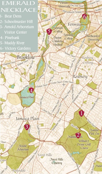Boston Map Historical Sites.Emerald Necklace Safari Frederick Law Olmsted National Historic