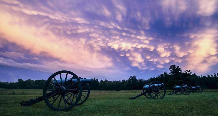 Cannon at Fairview on the Chancellorsville Battlefield under a pink and purple sky