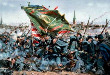 Artist depiction of charge of Irish Brigade