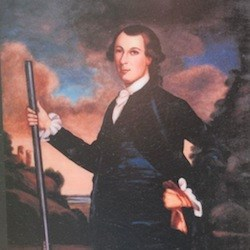 Painting of William Fitzhugh standing with rifle in front of cloudy sky background