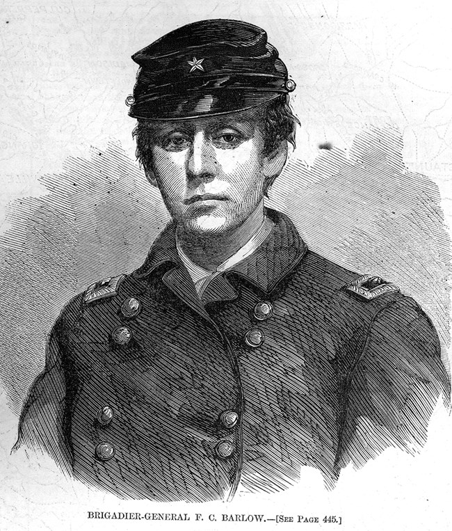 Sketch of Francis Barlow wearing uniform and cap