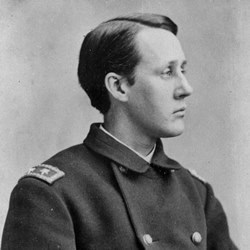 Francis Barlow in profile, wearing military uniform
