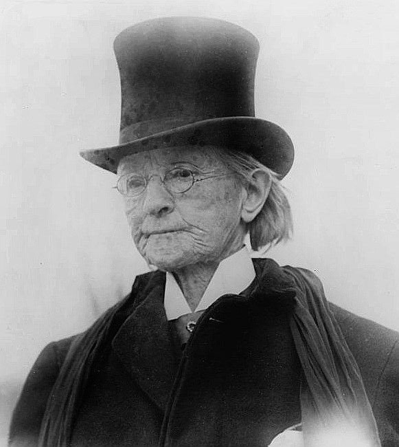 Mary Walker later in life, wearing a men's coat and top hat