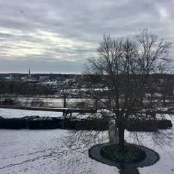 View overlooking the Rappahannock River with ice on it and town of Fredericksburg in the background