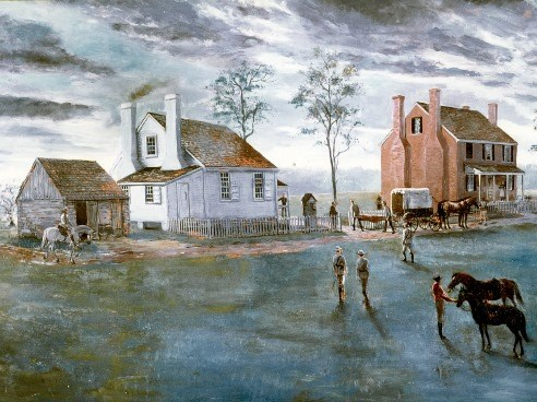 Artist depiction of Jackson arriving at Fairfield, the plantation where he died