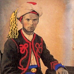 Semi-colorized image of George Murray in zouave uniform
