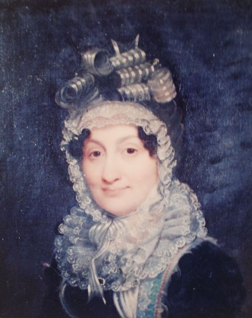Painting of Hannah Coalter from shoulders up wearing a dark dress with ruffles and a ribboned bonnet
