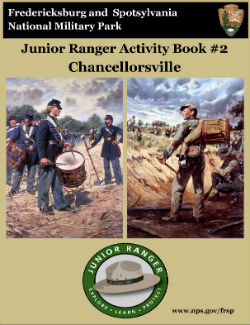Chancellorsville Junior Ranger booklet cover; Union and Confederate drummer boys