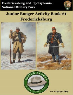 Fredericksburg Junior Ranger booklet cover; Confederate and Union soldier dressed for winter