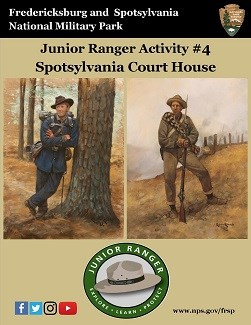 Spotsylvania Jr Ranger book; Union and Confederate soldiers standing.