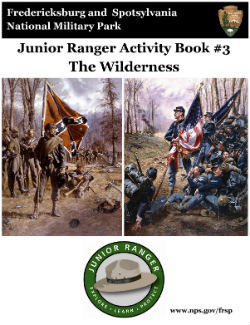Wilderness Junior Ranger booklet cover; Confederate and Union flagbearers