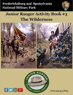 Wilderness Junior Ranger activity book; Confederate and Union flag bearers