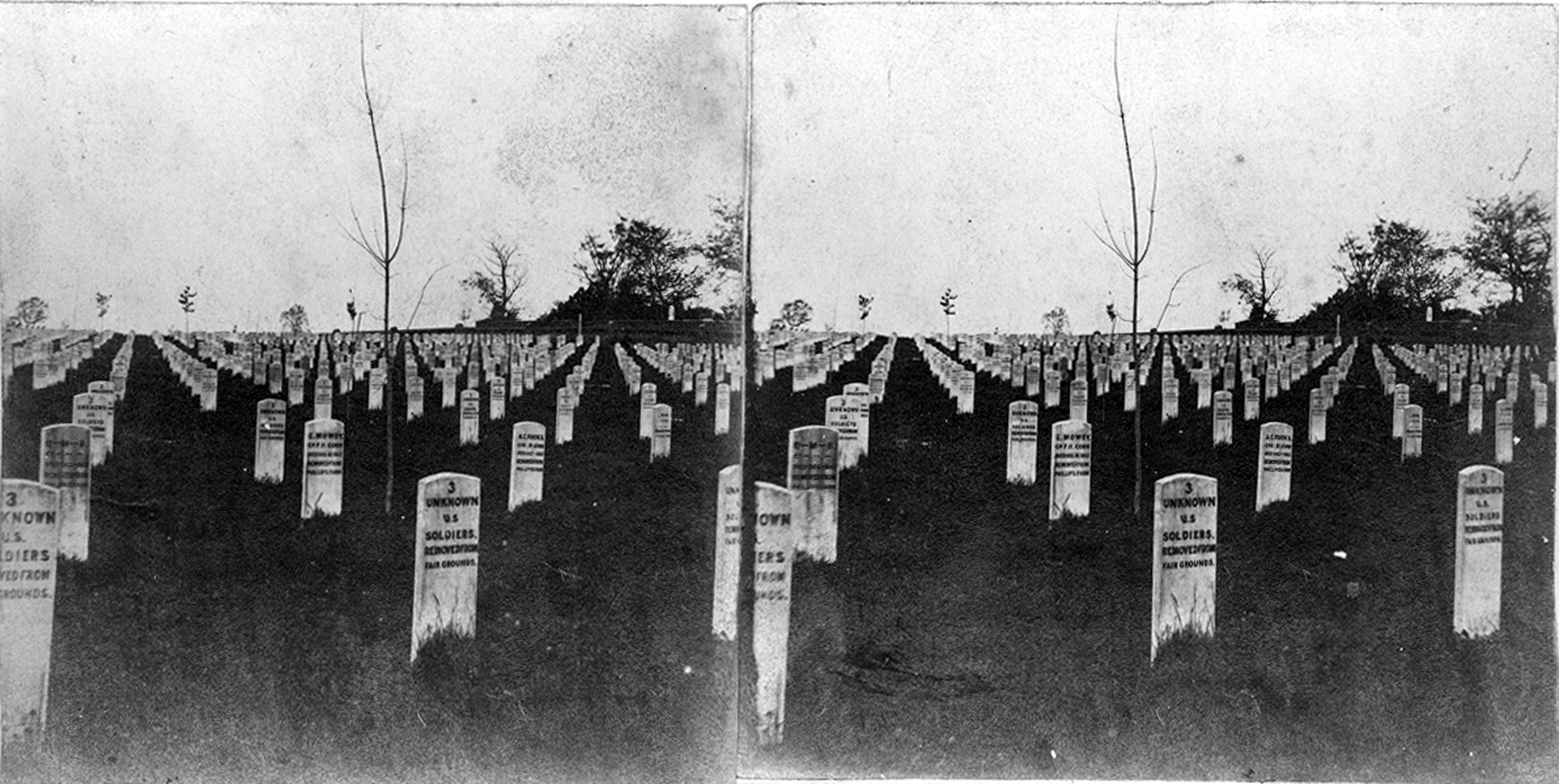 Black and white photo showing stark landscape with wooden white headboards in rows