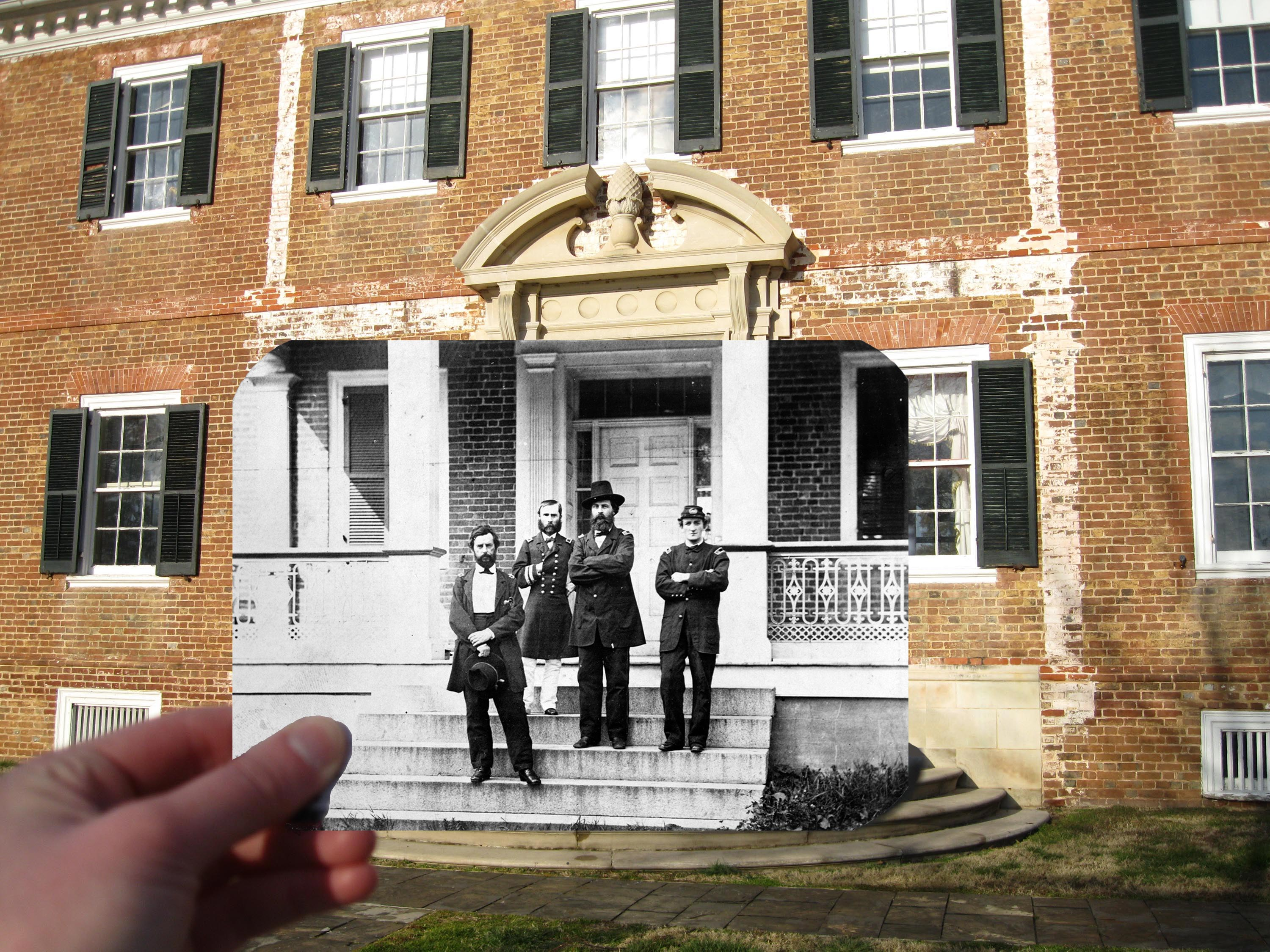 Historic image of Union officers overlaid on modern image of Chatham Manor's brick front.