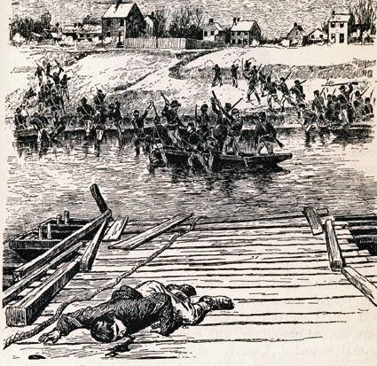 Artist depiction of pontoon bridge