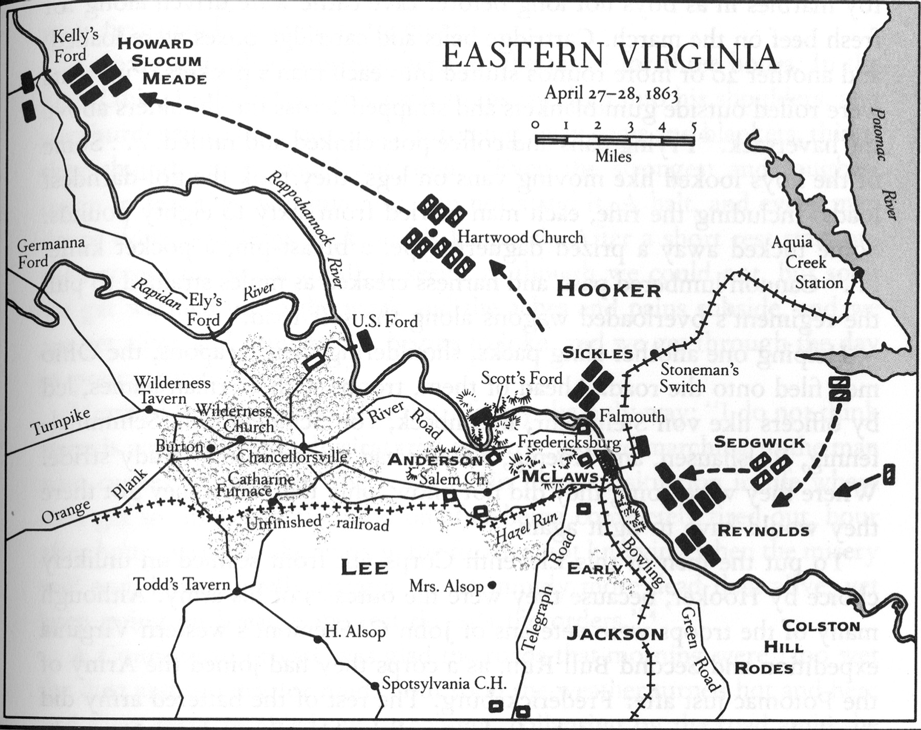 Map of Opening Movements at Chancellorsville