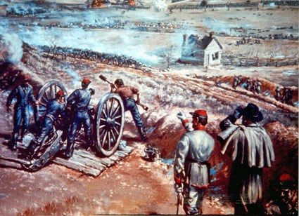 Painting depicting Washington Artillery on Marye's Heights.