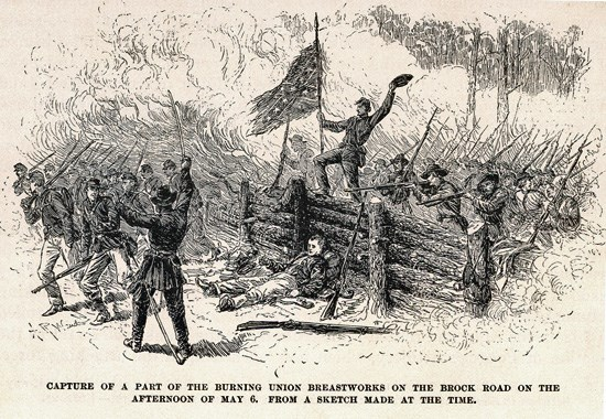 Sketch of Confederates capturing trenches along Brock Road