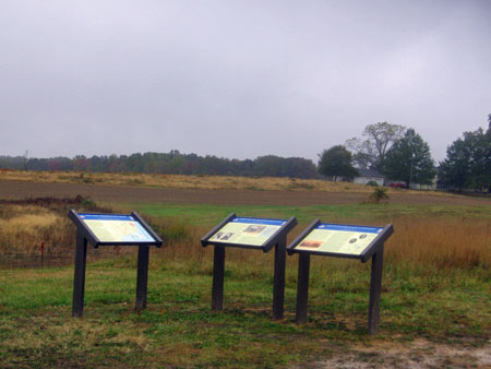 Interpretive signs on May 1 Battlefield