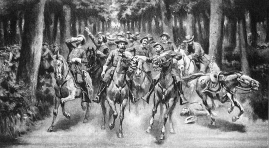 Sketch depicting the wounding of General Longstreet