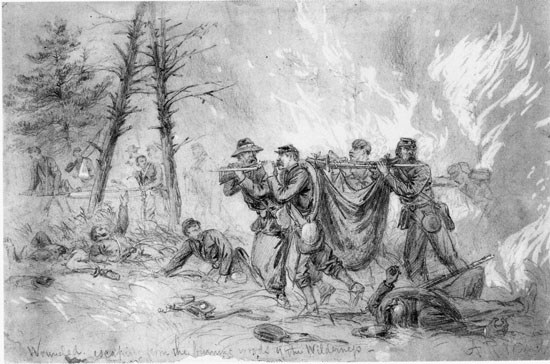 Sketch of men being rescued from fire