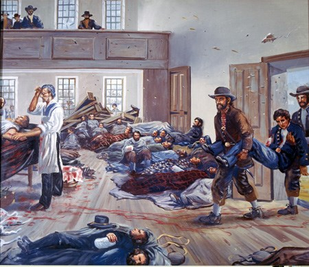 Painting depicting Salem Church as a hospital.