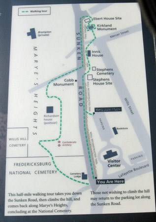 Map of Sunken Road/Marye's Heights walking tour