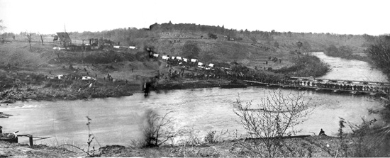 Union army crossing at Germanna Ford during the Wilderness Campaign