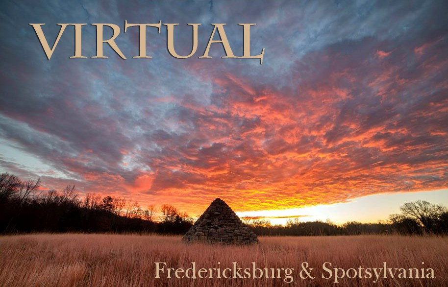 "Photo of sky at sunset behind pyramid-shaped monument in high grass with words ""Virtual Fredericksburg & Spotsylvania"" overlayed"