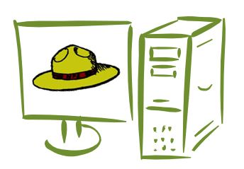 National Park Service hat on green computer screen
