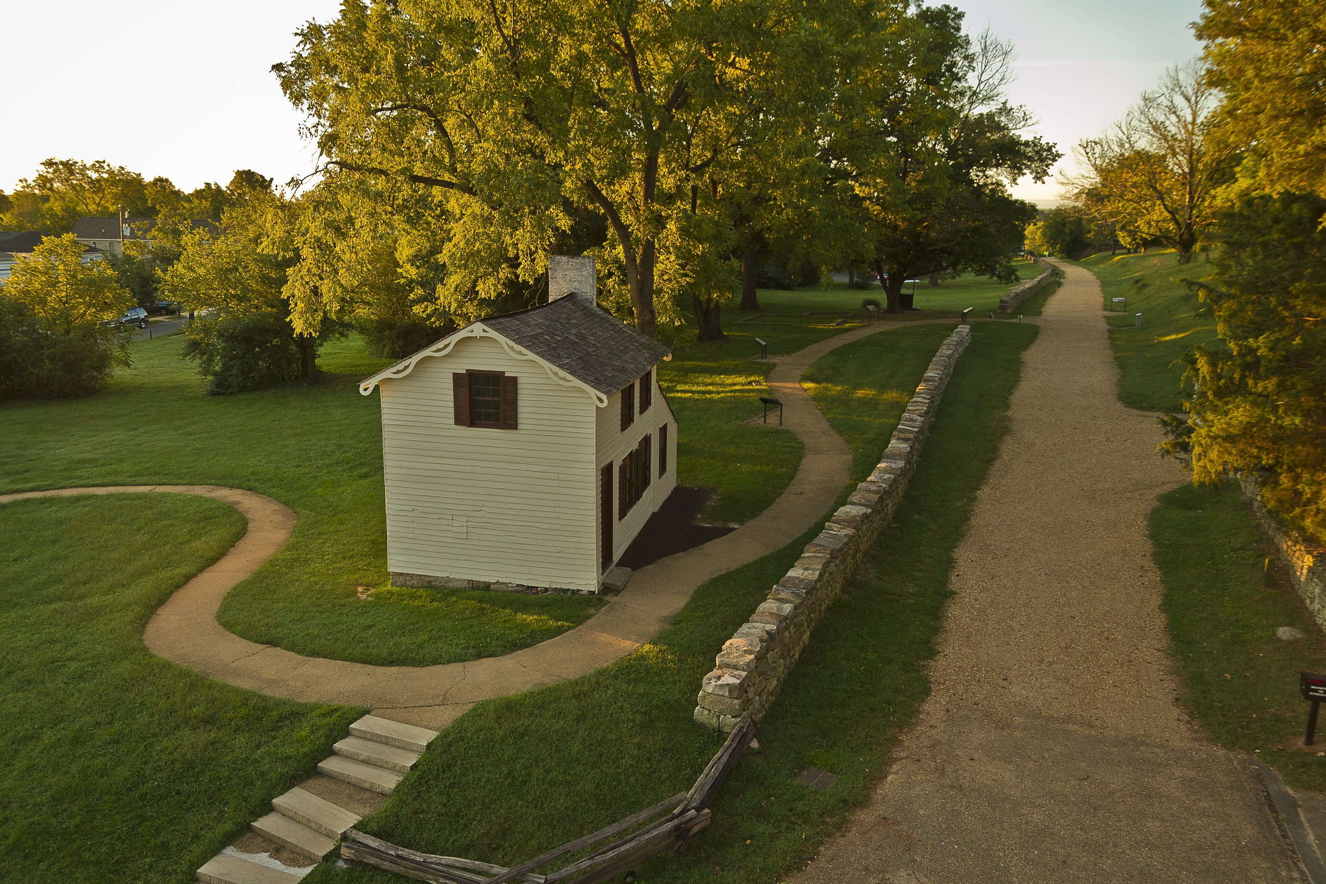 Sunken Road and Innis House, Photo by Larry Stuart