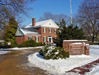 Fredericksburg Battlefield Visitor Center in snow