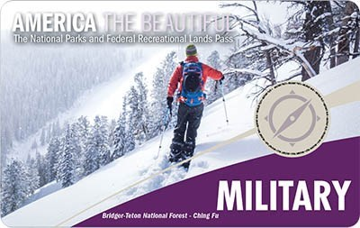 America The Beautiful Military Pass; A man in a red jacket, skiing along a snowy mountainside.