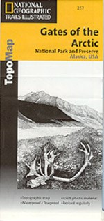 Park map cover with line drawing of a mountain with a caribou antler in the foreground.