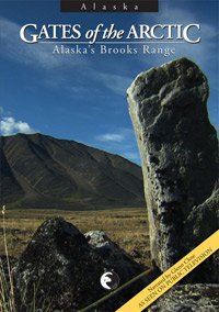 Video cover showing mountains and upended rock call inuksuk.