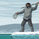 A drawing of a prehistoric hunter hunting from the sea ice edge.